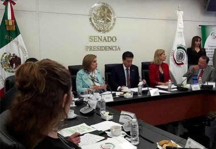 Arely Gómez ante integrantes de la Comisión Anticorrupción del Senado, donde rindió protesta como titular de la Secretaría de la Función Pública. (Foto: Twitter @ArelyGomezGlz)
