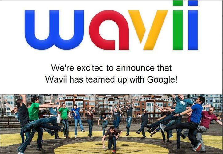 """En su página, Wavii anuncia: """"Estamos muy contentos de anunciar que Wavii se ha asociado con Google!"""". (wavii.com)"""