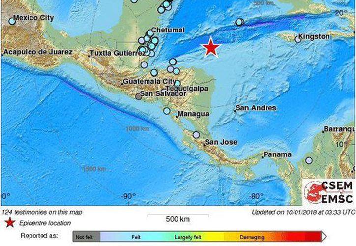 El sismo se pudo sentir en la zona del Caribe, incluida la Península de Yucatán. (Sky Alert)