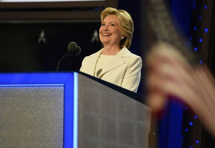 Imagen del 28 de julio de 2106 de Hillary Clinton cuando aceptó la candidatura demócrata  a la Presidencia de EU. (Archivo/Notimex)