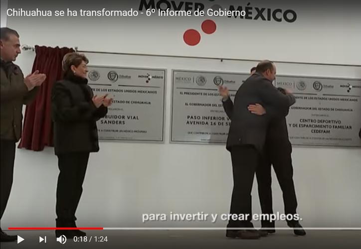 En el video, el presidente Peña Nieto da una abrazo al hoy prófugo de la justicia. (Redacción/SIPSE)