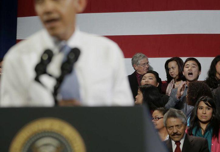 La interrupción del discurso de Obama no pasó a mayores. (Agencias)