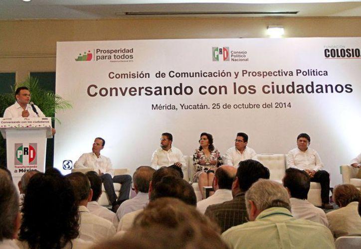 Rolando Zapata encabezó este sábado la sesión de trabajo de la Comisión Temática de Comunicación y Prospectiva Política del Consejo Político Nacional del PRI. (Milenio Novedades)