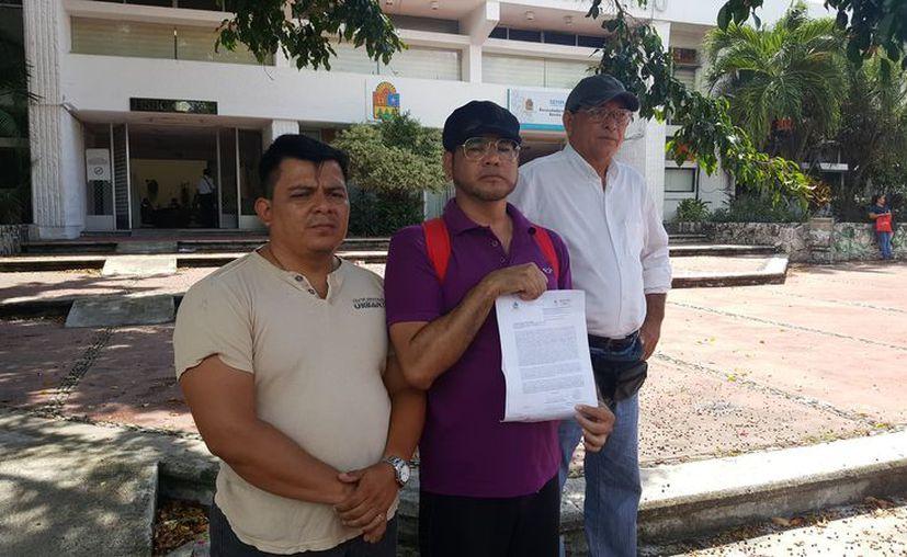 Manuel Antonio Robles Oropeza, Homero Hidalgo Vladimir y Carlos Enrique del Valle Vega; fueron cesados hace dos años de la Sintra. (Paola Chiamante/SIPSE)