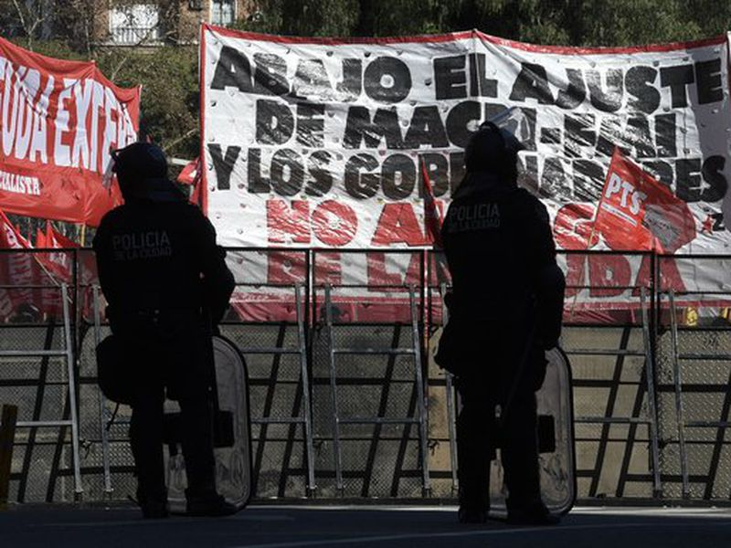 Protesters during demonstration against International Monetary Fund. (AP)