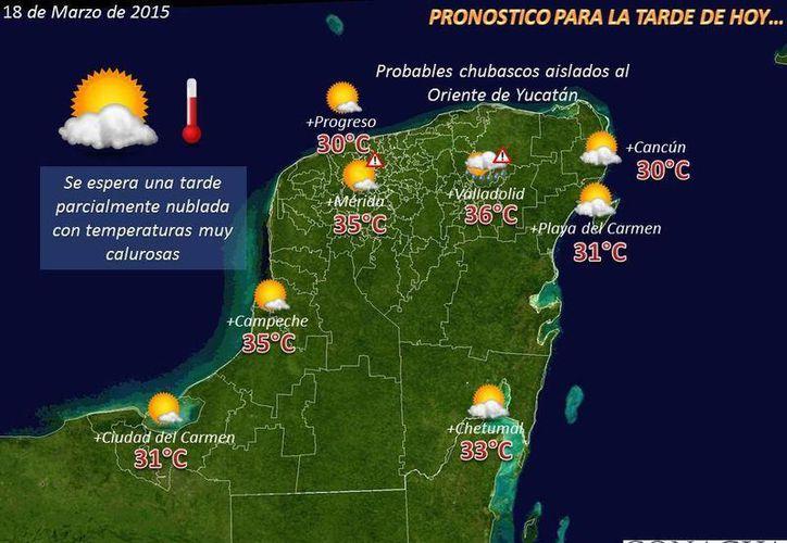 Condiciones que se pronostican para las siguiente horas de este miércoles. (Conagua)