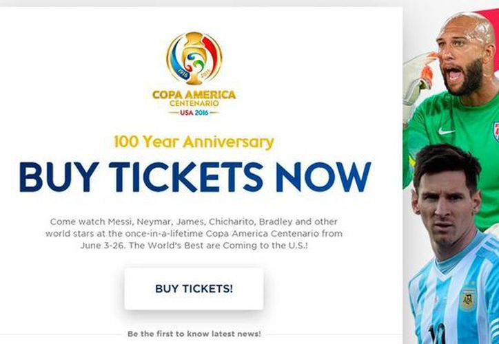 La Copa América Centenario, que se desarrollará en Estados Unidos, en junio, inicia la venta de boletos este 22 de marzo. (Captura de pantalla)