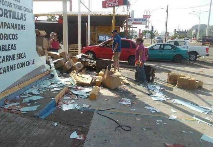 Imagen de daños en una comunidad sonorense por el paso del huracán Newton. (www.elimparcial.com)