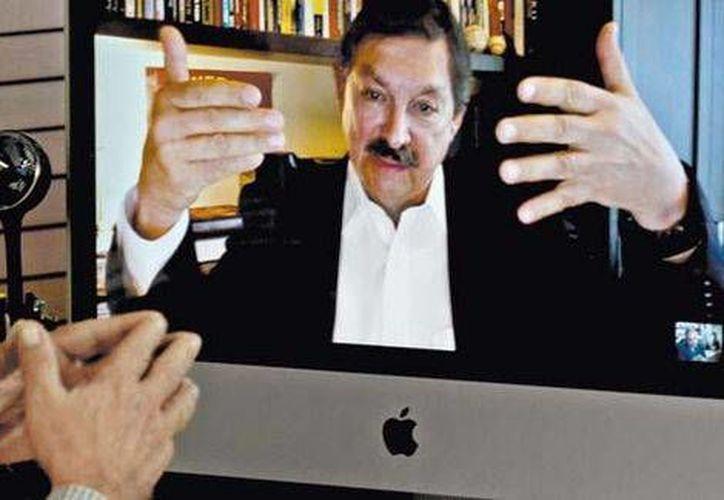 """Napoléon Gómez Urrutia durante la videoentrevista con Carlos Marín, de MILENIO, para su programa """"El Asalto a la razón"""". (Foto: Martín Salas/Milenio)"""