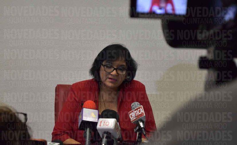 La Vice Fiscal general del estado, Rosaura Villanueva Arzapalo, dio un informe en conferencia de prensa. (Eric Galindo/SIPSE)