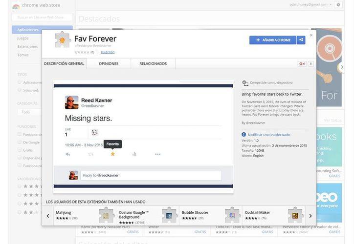 Fav Forever fue creada por el desarrollador Reed Kavner. (chrome.google.com)