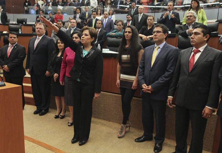 Patricia Espinosa Cantellano rinde protesta ante el Senado como embajadora plenipotenciaria de la República de Alemania. (Notimex)