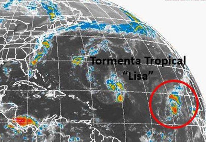 'Lisa' avanza en el Atlántico con vientos sostenidos de 35 kilómetros por hora y rachas de 85 kilómetros. (smn.cna.gob.mx)