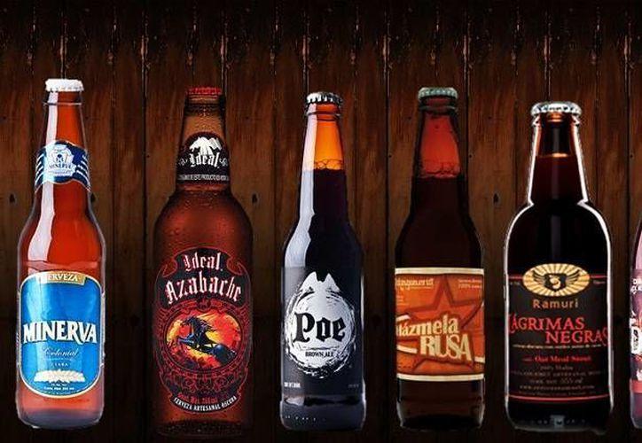 Estas son algunas cervezas que se fabrican en el país con productos de origen mexicano. (Fotocomposición SIPSE)