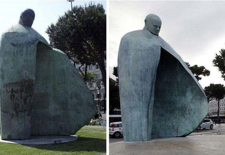 El antes y después de la escultura, que no habían dejado satisfechos a los ciudadanos ni a la Santa Sede. (Agencias)