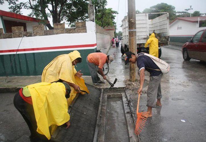 Protección Civil ha implementado cuadrillas de limpieza de zonas de desagüe para prevenir inundaciones por las lluvias.  (Irving Canul/SIPSE)