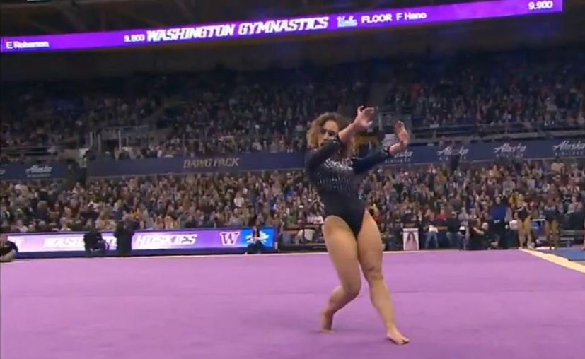 La gimnasta universitaria Katelyn Ohashi obtuvo su quinto 10 perfecto de la temporada. (Twitter)