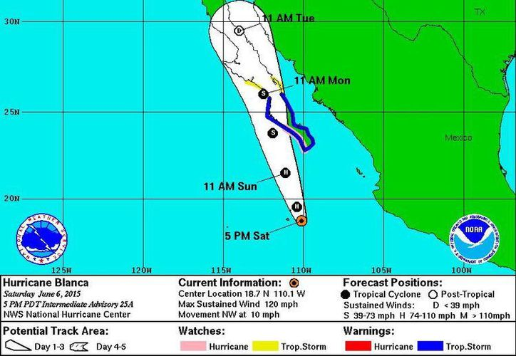 Proyección del Centro Nacional de huracanes de Miami, Florida, acerca del desplazamiento del huracán 'Blanca' para las próximas 48 horas. (www.nhc.noaa.gov)