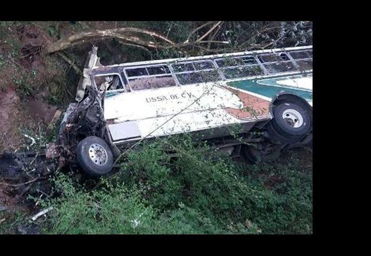 El camión de la línea USSA se volcó a un barranco de unos 30 metros de profundidad. (Leticia Ánimas/Milenio)
