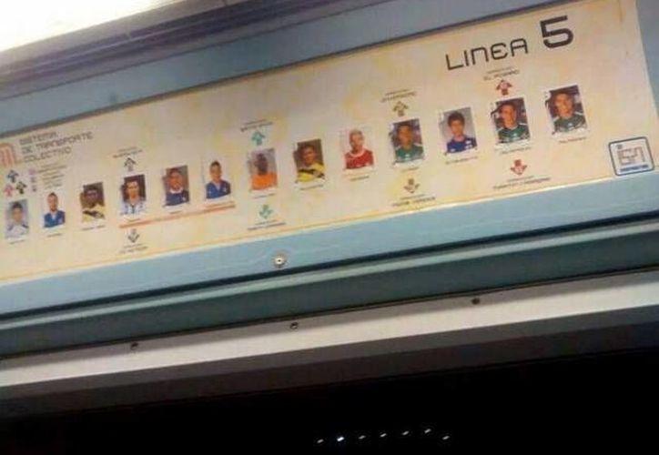 Las estampas mundialistas se encuentran en la linea 5 del metro capitalino. (milenio.com)