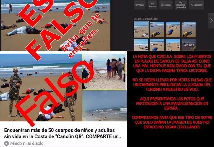 Desde temprana hora del miércoles, el montaje y la falsa información se repartió en redes sociales. (Foto: Redacción/SIPSE)