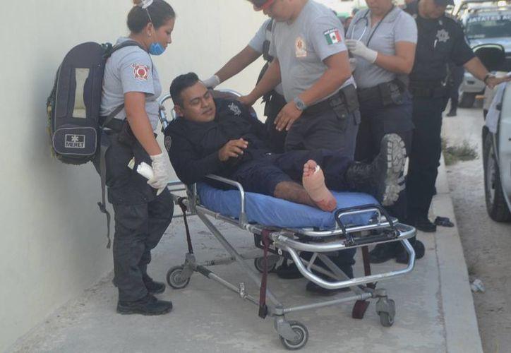 Los rescatistas le colocaron vendas en el pie, para posteriormente trasladarlo a la clínica del Issste. (Redacción/SIPSE)