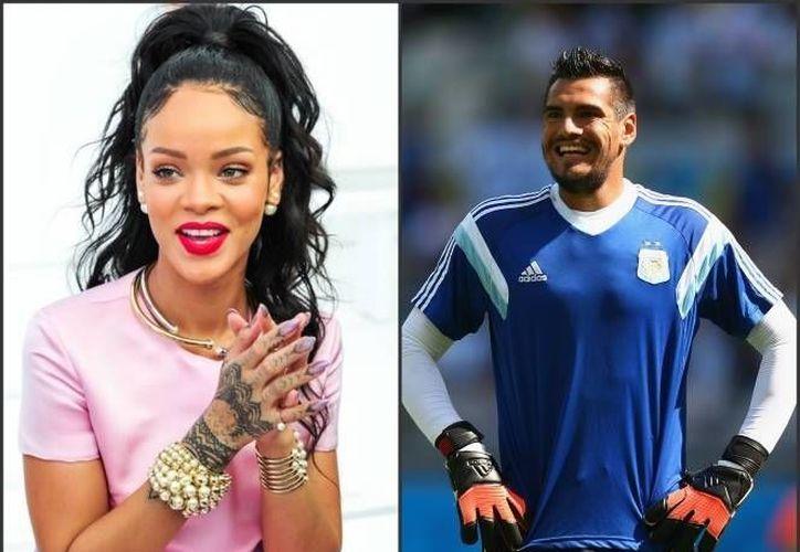 Rihanna, la cantante originaria de Barbados expresó su admiración por el arquero Sergio Romero por medio de Twitter. (ansa.it)