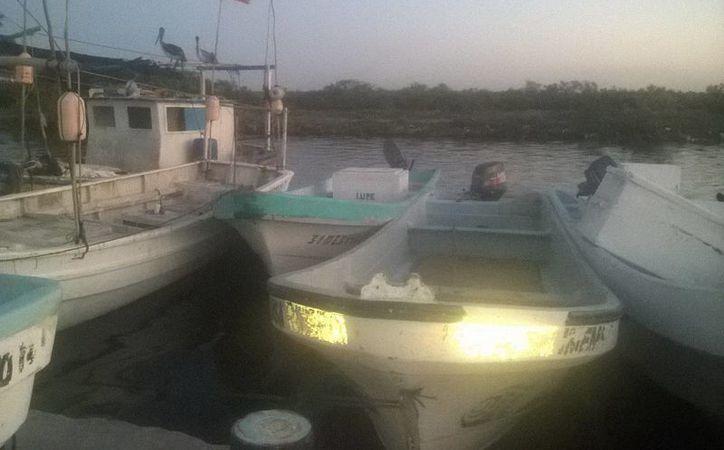 El asalto a los 'pepineros' furtivos se registró este martes por la tarde en Dzilam de Bravo. Imagen de algunas lanchas ancladas. (Milenio Novedades)