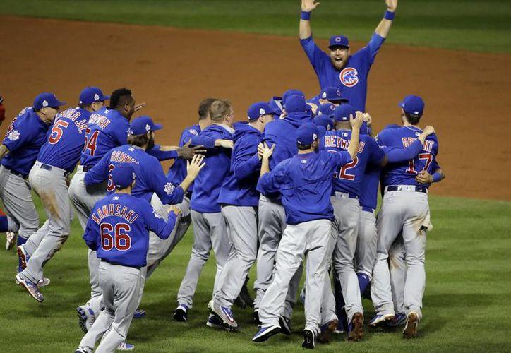 En la película aseguran que los Cachorros se iban a coronar el 21 de octubre de 2015, pero el equipo beisbolero logró la hazaña un año después.(Matt Slocum/AP)