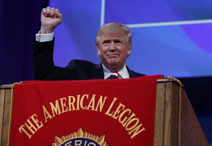 El candidato presidencial republicano Donald Trump durante la Convención Nacional de la Legión Americana, en Cincinnati. (AP/Evan Vucci)