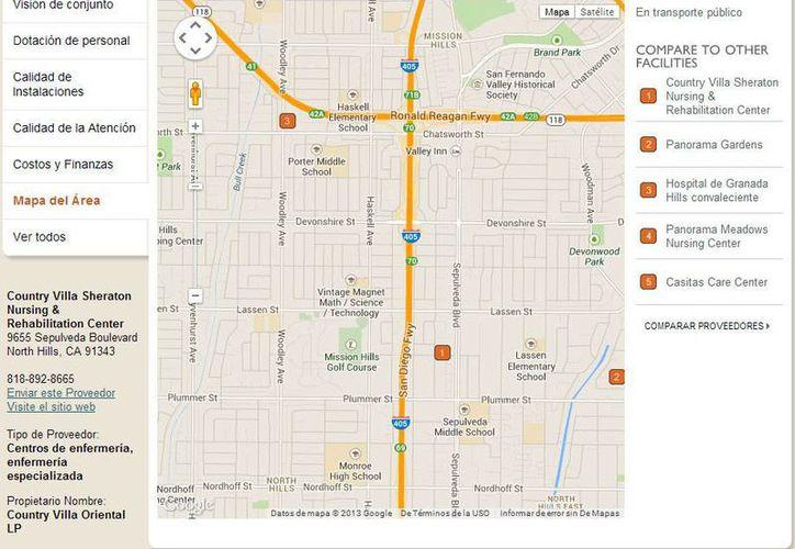 Ubicación del asilo Country Villa Sheraton, ubicado en el área North Hills de Los Angeles, donde se entregó el presunto homicida. (Internet)
