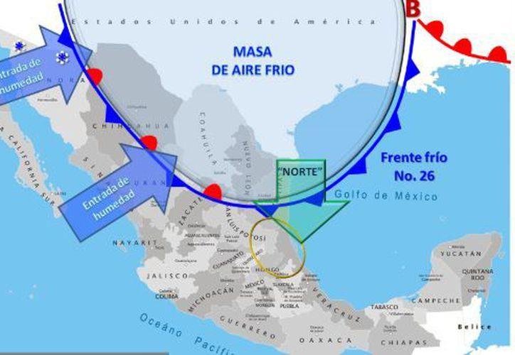 El frente No. 25 se localiza en el Mar Caribe, sin afectar México. (SMN)