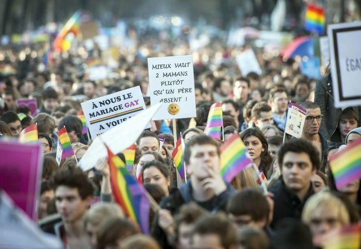 Manifestación a favor de la legalización del matrimonio gay en París. (Archivo/EFE)
