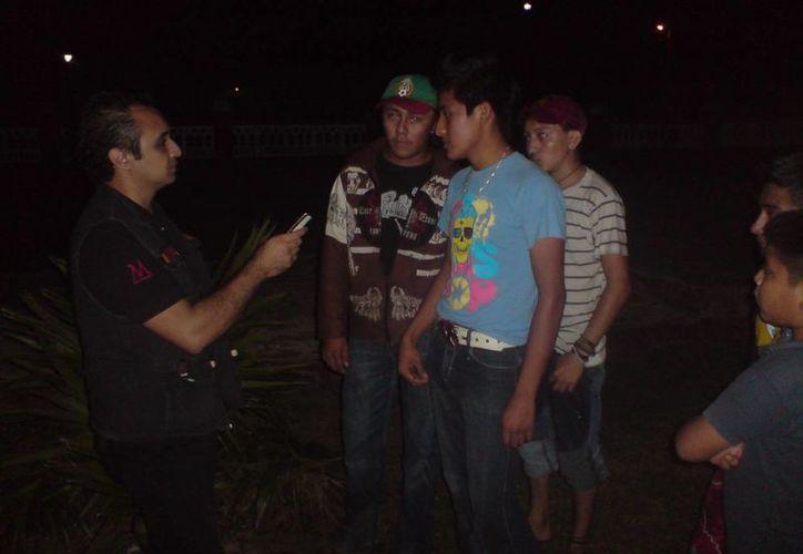 Algunos de los entrevistados en Ekmul. (Jorge Moreno/SIPSE)