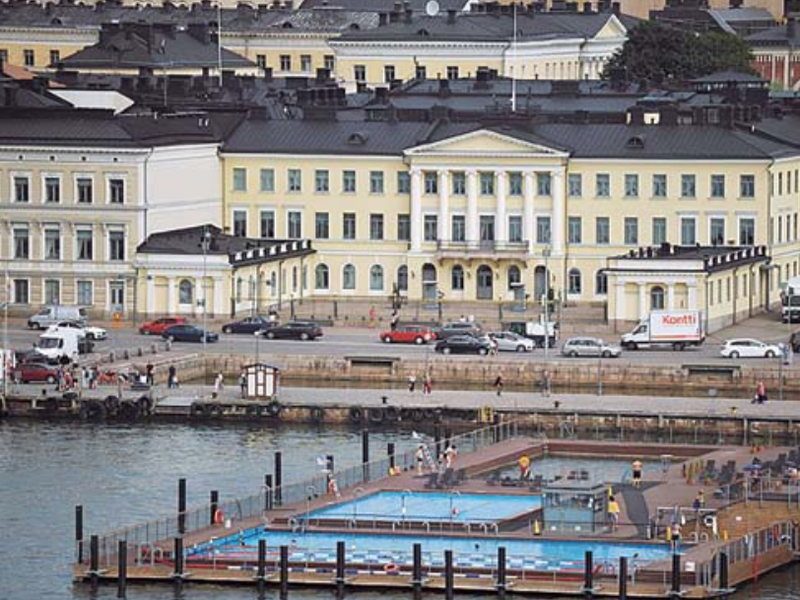 A view of the sea front and the presidential palace, in Helsinki, Finland.
