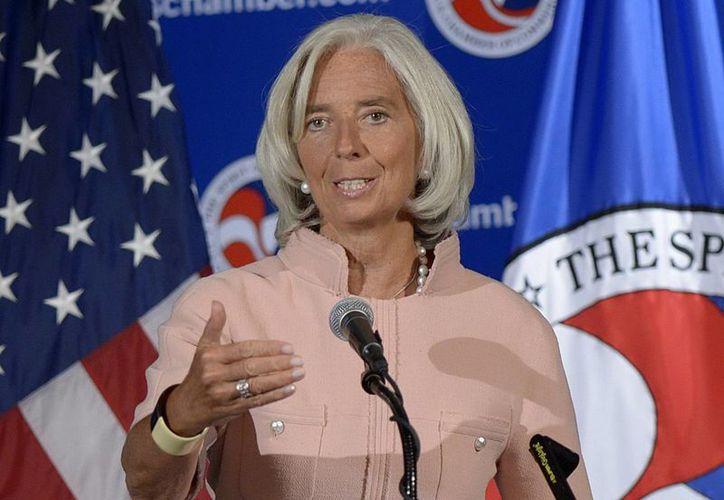 Christine Lagarde durante una conferencia en la sede de la Cámara de Comercio de EU, en Washington. (EFE)