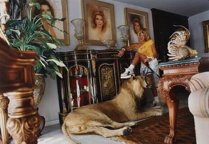 La esposa del Diputado Jesús Sesma Suárez, del PVEM, fue exhibida en una fotografía en la que posa con un león disecado. (Sin Embargo)