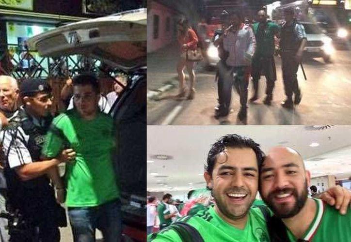 Los mexicanos fueron detenidos cuando salían del partido de México-Holanda cuando presuntamente uno de ellos le dio una nalgada a una brasileña.(tribunadigital.com.mx)