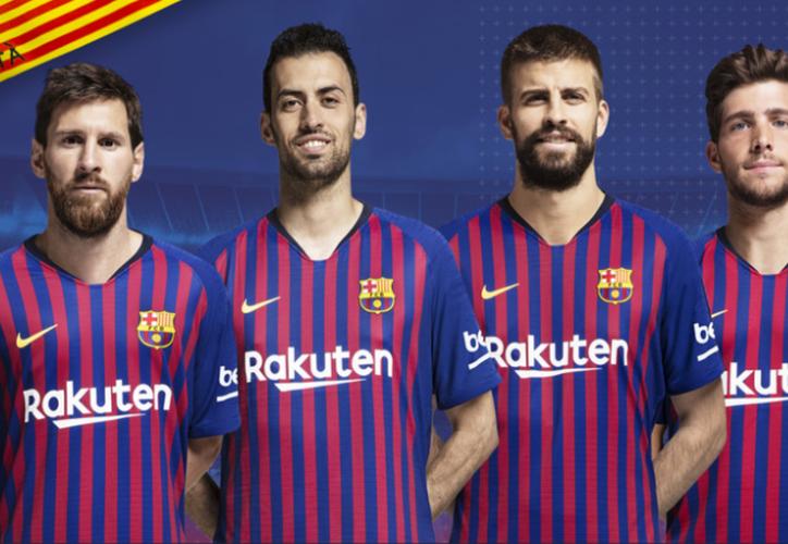 Leo Messi, Sergio Busquets, Gerard Piqué y Sergi Roberto son los cuatro capitanes elegidos. (Twitter)