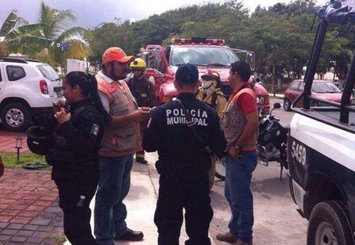 Elementos policíacos y protección Civil acudieron al lugar de los hechos. (Cortesía/Elizabeth Rivero)