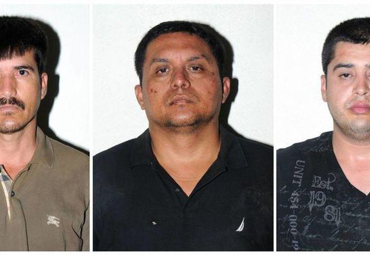 Miguel Ángel Morales Treviño (el Z-40) flanqueado por Ernesto Reyes García y Abdón Federico Rodríguez García. (Archivo/Agencias)