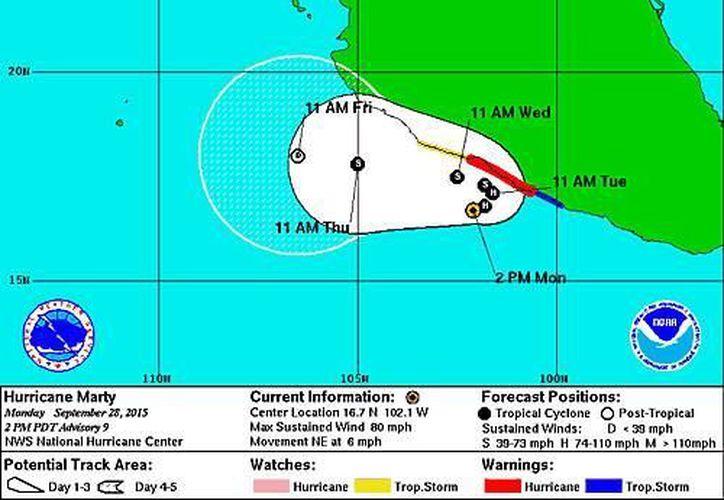 Los efectos de 'Marty' comenzarán a sentirse en Guerrero en las próximas 24 horas. (nhc.noaa.gov)