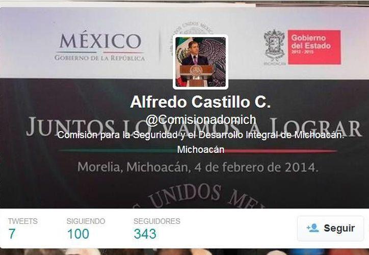 A través de su cuenta @Comisionadomich, Alfredo Castillo Cervantes ofrecerá información sobre la situación en Michoacán. (Captura de pantalla)