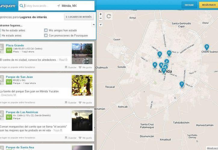 """La red social Foursquare hace recomendaciones personalizadas a los usuarios, basada en los """"check-ins"""". (SIPSE.com)"""