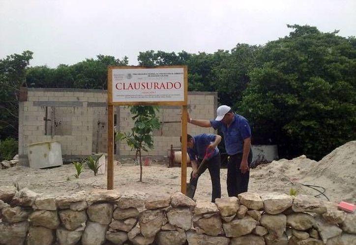 Clavan en la arena el letrero de clausurado por parte de Profepa. (Milenio Novedades)