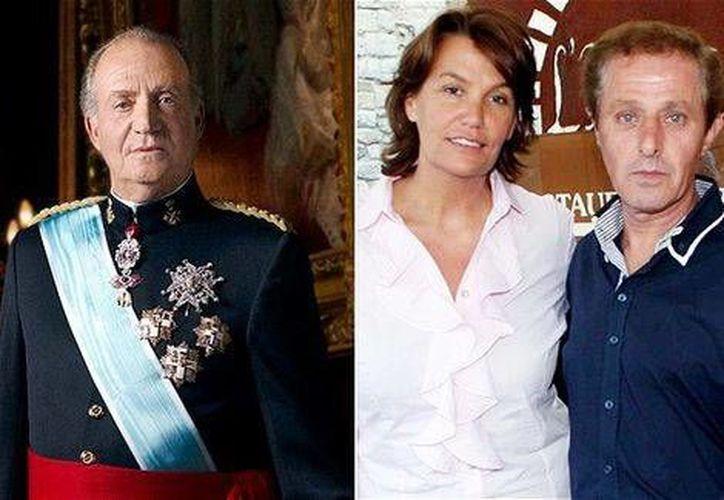 Juan Carlos I con Ingrid Bartiau y Alberto Solá, quienes afirman ser hijos del exmonarca y piden se haga una prueba de ADN. (Fotocomposición Reuters/MILENIO)