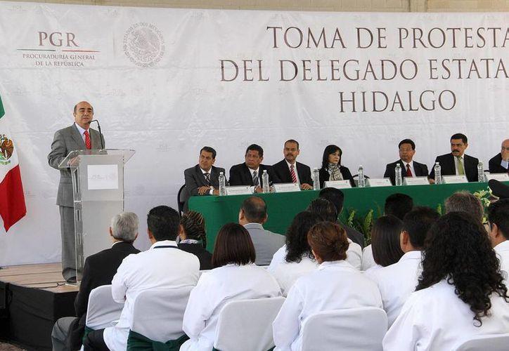 El Procurador General de la República tomó protesta al delegado de la PGR en Hidalgo. (Notimex)