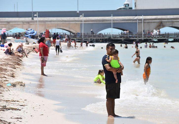 Desde temprana hora, cientos de personas comenzaron a llegar a las playas de Progreso y sus comisarías, las cuales se vieron concurridas. (Gerardo Keb/Novedades Yucatán)