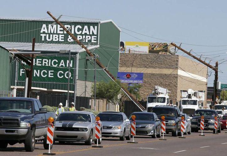 Los fuertes vientos en la zona de Phoenix, en Arizona, dejaron miles de árboles caídos y cortes en la electricidad. (AP)