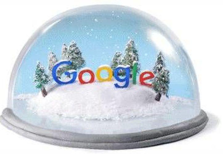 La bola de nieve con pinos y dos personajes patinando sobre hielo que regala Google para celebrar el invierno (Foto: Google)